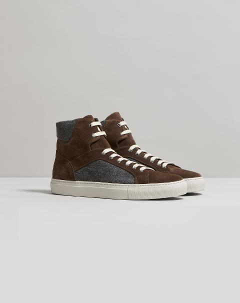 SNEAKERS ALTA IN LANA E PELLE Corneliani Sneakers