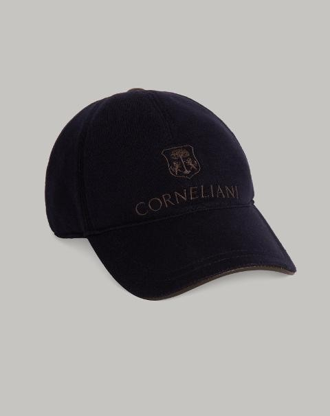 CAPPELLO BASEBALL BLU IN FELPA Corneliani Cappello baseball