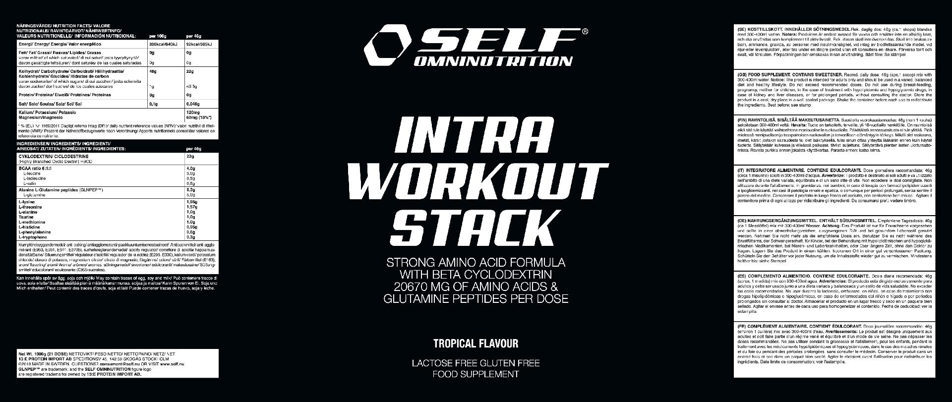 INTRA WORKOUT PREMIUM TROPICAL FLAVOUR SELF 1 KG