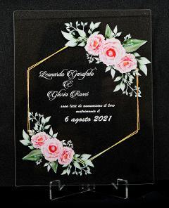 Partecipazioni in Plexiglas personalizzate - Grafica Esagonale con Fiori Regplex Eventi - Wedding - Cerimonie - Matrimonio - Feste