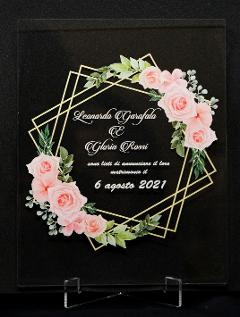 Partecipazioni in Plexiglas personalizzate - Grafica Ottagonale con Fiori Regplex Eventi - Wedding - Cerimonie - Matrimonio - Feste