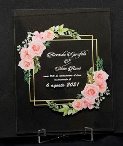 Partecipazioni in Plexiglas personalizzate - Grafica Quadrata con Fiori Regplex Eventi - Wedding - Cerimonie - Matrimonio - Feste