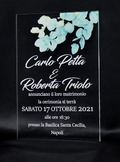 Partecipazioni in Plexiglas personalizzate - Dettaglio Ramoscello di Fiori Regplex Eventi - Wedding - Cerimonie - Matrimonio - Feste