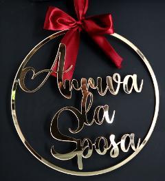 "Targa ""Arriva la Sposa"" in Plexiglas Regplex Gadget Matrimonio"