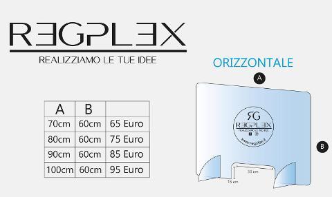 Parafiato in plexiglass Orizzontale Regplex Linea Sicurezza