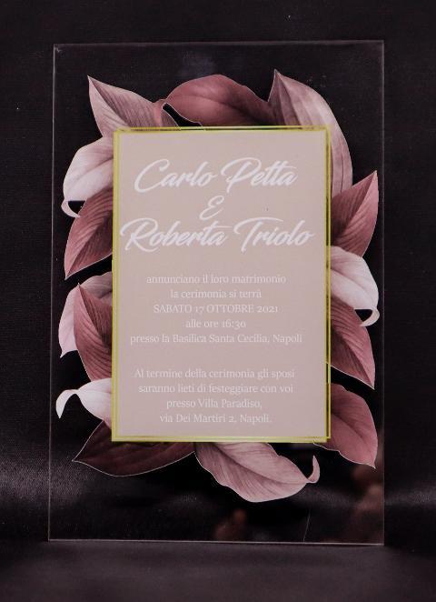 Partecipazioni in Plexiglas personalizzate - Grafica Invito su Foglie Regplex Eventi - Wedding - Cerimonie - Matrimonio - Feste