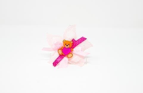 """(min. 10 pz) """"Orsetto"""" Rosa in Plexiglas in versione accessorio per Bomboniera Regplex Personalizzabile"""