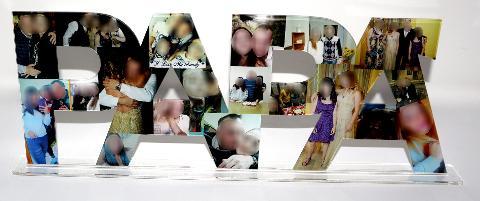 """Scritta """" PAPA' """" Foto-Collage in Plexiglas Regplex  Pesonalizzata"""