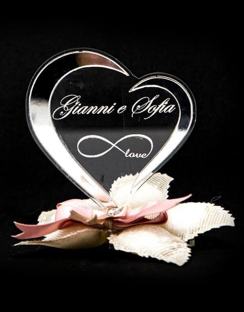"""""""Amore Infinito"""" Cuore in Plexiglas in versione accessorio per Bomboniera Regplex Personalizzabile"""