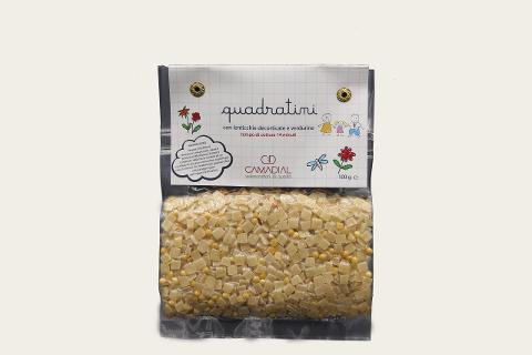 Quadratini con lenticchie decorticate e verdurine / Conf. da 100 gr. / Camadial Sicilia