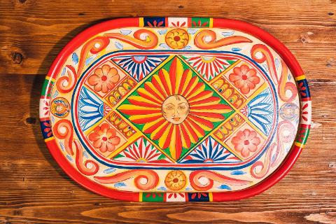 Vassoio in legno decorato a mano Artigiano Marco Vassoio in legno decorato a mano