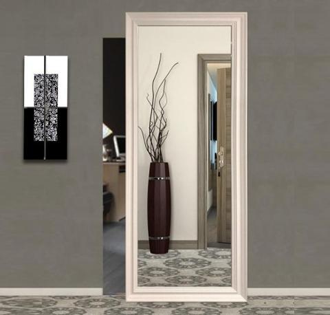 Porta Scorrevole esterno muro con specchio e binario invisibile FIP Magical con Cornice e Specchio