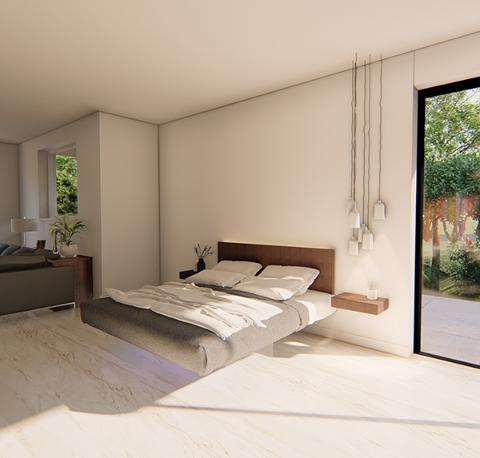 Letto sospeso con rete autoportante e base in vetro temperato. FIP Air Bed con Testiera Air