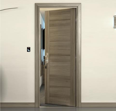 Porta REI 45 Palissandro Tortora con pannello centrale FIP Porte REI 45 per Hotel