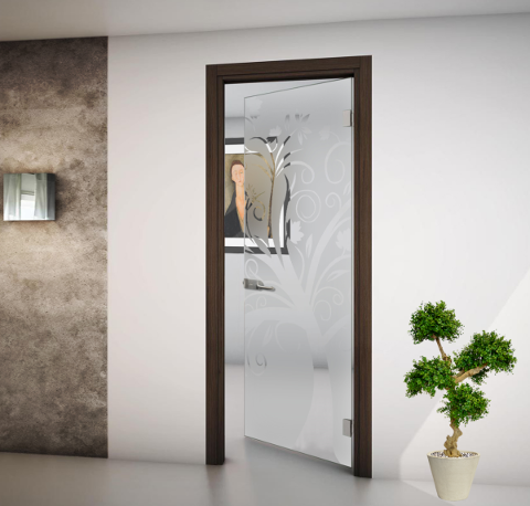 Porta in vetro satinato e disegni trasparenti a battente FIP porta vetro battente