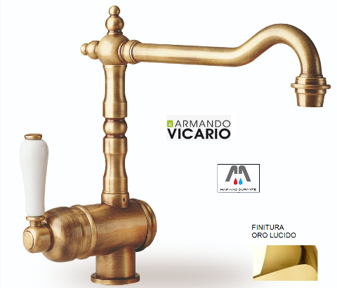 RUBINETTO MISCELATORE LAVABO BAGNO COUNTRY ORO LUCIDO VICARIO ARMANDO serie OLD FASHION 500011OR