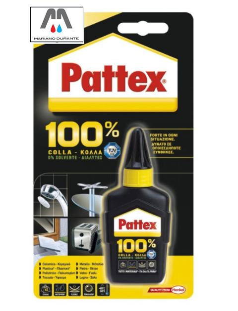 PATTEX 100% COLLA TUBETTO 50GR ADEVISO UNIVERSALE MULTIMATERIALE HENKEL 100%COLLA  1666124