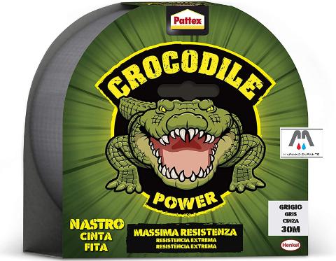 PATTEX CROCODRILE POWER TAPE GRIGIO NASTRO ADESIVO TELATO POTENTE RIPARATORE 30M HENKEL CROCODILE POWER TAPE 2502184