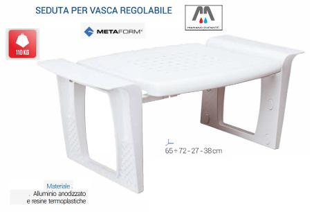 SEDUTA VASCA REGOLABILE DISABILI ANZIANI COMUNITA' BIANCO METAFORM 101H48602