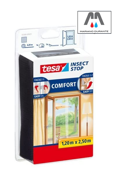 Tesa55386 Insect Stop Zanzariera  Attacca & Stacca COMFORT x Porte 2x0,65mx2,50m TESA 55386  Insect Stop BIANCA / NERA