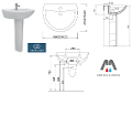 COLONNA PER LAVABO SEMICIRCOLARE IN PORCELLANA IDEAL STANDARD BEU