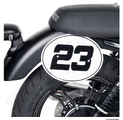 Tabella Porta Numero Moto Guzzi V7 II - V7 III Barracuda Alluminio Anodizzato ALLUMINIO anodizzato argento con staffatura in acciaio verniciato