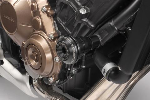 Tamponi ParaMotore HONDA CB 650 R 2019 DE PRETTO MOTO Nylon Alluminio Ricavato Dal Pieno Finitura Naturale
