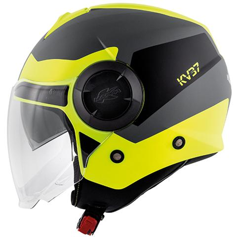 Casco get per moto con visiera interna per il sole   KAPPA OREGON ZONE COLORE   TITANIO /GIALLO OPACO