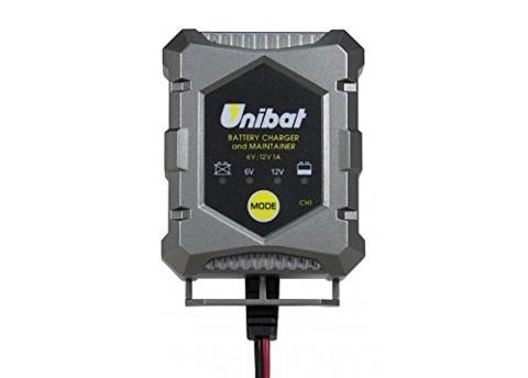 Caricabatterie e mantenitore di carica Unibat  per batterie piombo-acido, Gel e AGM da 6 V e 12 V, 1 A