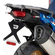 Portatarga Kit Targa  Regolabile Honda crf 1000 Africa Twin 2019 BARRACUDA   Reclinabile Alluminio anodizzato nero + snodo in acciaio