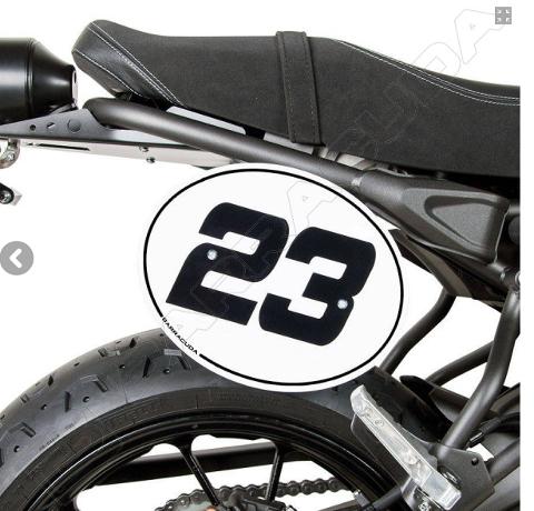 Kit Tabella Porta Numero Yamaha XSR 700 Barracuda Alluminio Anodizzato Argento e Adesivo Bianco