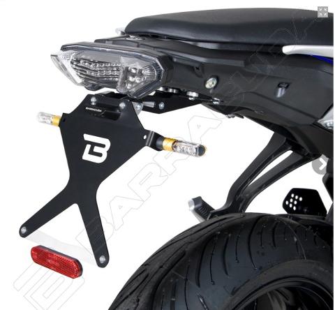 Kit Targa  Portatarga  Regolabile  Yamaha MT07 Tracer 2018 - 2019 Barracuda Reclinabile Alluminio anodizzato nero con snodo in acciaio