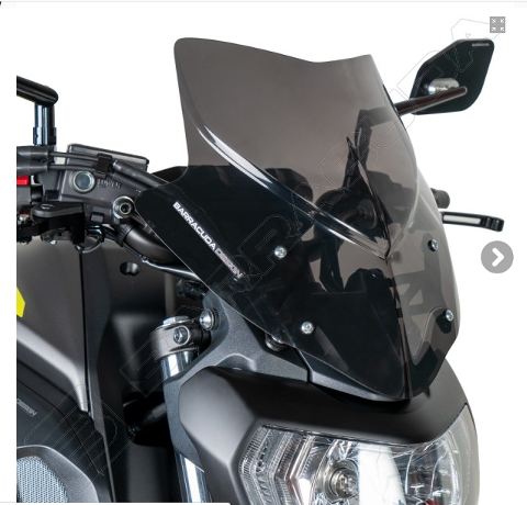 Cupolino Parabrezza Yamaha  MT-07 2018 - 2020 Barracuda AEROSPORT realizzato in plexiglass semitrasparente colore fume' scuro