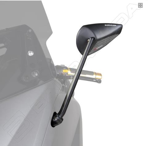 Specchietti Retrovisori Omologati Yamaha T - MAX 530 2017 - 2019 Barracuda T-VERSION Alluminio Con Inserto Carbon Look