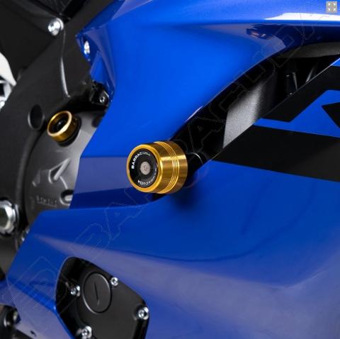 Kit Tamponi Paratelaio Yamaha R6 2017 - 2019 Barracuda PVC nero  distanziali in alluminio anodizzato