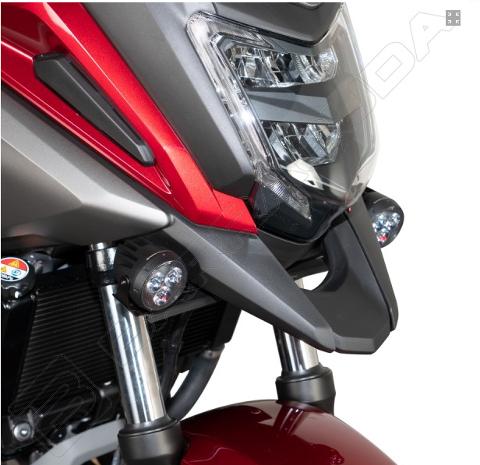 Kit Attaco Fari Supplementeri Honda NC750X  2016-2020 Barracuda  realizzate in INOX 30/10 alleggerito Nero