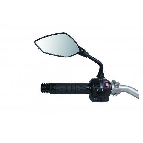 Specchietto Retrovisore Moto Univrsale  Chaft Gambo diametro 10 nero/rosso o nero/satinato
