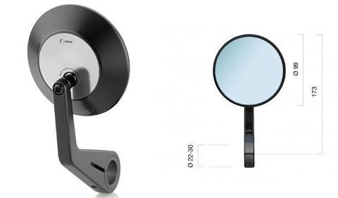 Specchietto Retrovisore Moto Universale Omologato  Rizoma  Vetro Convesso antiabbagliante Alluminio Ricavato Dal Pieno
