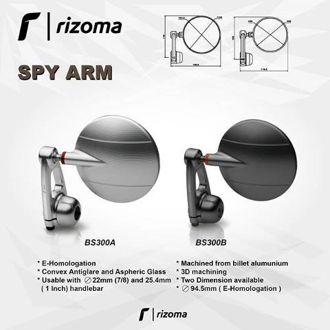 Specchietto Retrovisore Moto Univrsale Omologato Tondo Rizoma Vetro Convesso Antiabbagliante alluminio Ricavato Dal Pieno Lavorazione 3D