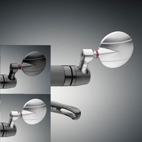 Specchietto Retrovisore Moto Univrsale Omologato Tondo Rizoma SPY-R Vetro Convesso Antiabbagliante Lavorazione 3D Alluminio Ricavato dal Pieno