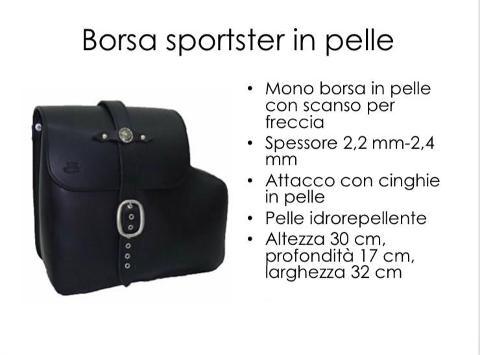 Borsa in Vera  Pelle Idrorepellente Singola Special Parts SportSter Con Scanso Per Freccia