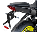 Kit Targa  Portatarga  Regolabile  Yamaha MT-07 2018 - 2020 Barracuda Reclinabile Alluminio anodizzato nero con snodo in acciaio