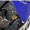 Kit Tamponi Paratelaio Yamaha  MT 07 Tracer 2018 - 2019 Barracuda PVC nero  distanziali in alluminio anodizzato