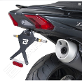 Kit Targa  Portatarga  Regolabile  Yamaha T - MAX 530 2017 - 2019 Barracuda Reclinabile Alluminio anodizzato nero con snodo in acciaio