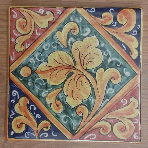 Mattoni in ceramica riproduzione siciliana del  700 misura 20x20 cm Pacon riproduzione caltagirone