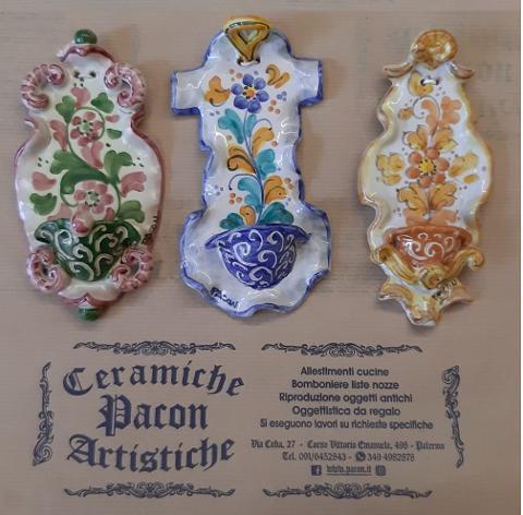 Acquasantiere artigianali Pacon di ceramica 1° Misura