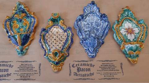 Acquasantiere artigianali Pacon  in ceramica, Barocco 2° Misura