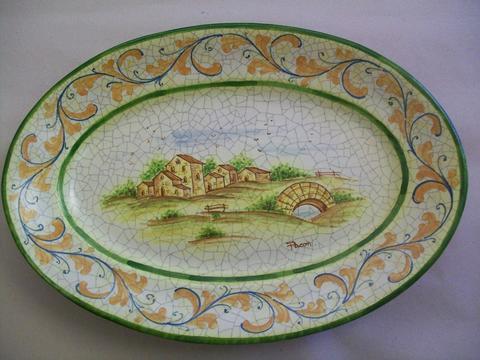 Piatti ovale in ceramica Pacon  decoro paesaggi - animali - Siciliano.