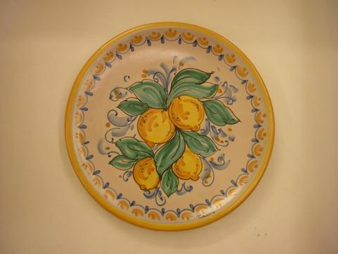 Piatti in ceramica diametro 25 Pacon fiori - limoni - palmette Siciliano.