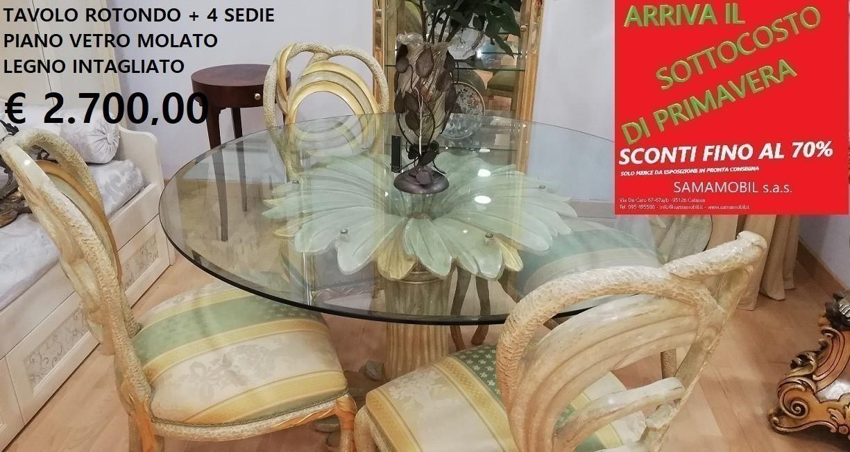 Tavolo Cristallo 4 Sedie.Sottocosto Tavolo In Vetro 4 Sedie Ditta Furlanetto Mod